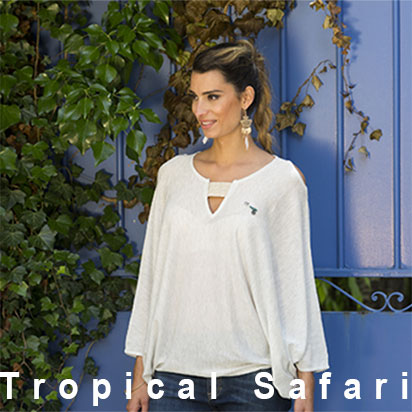 tropical safari, Poncho d'été couleur blanc chiné denim, jean,